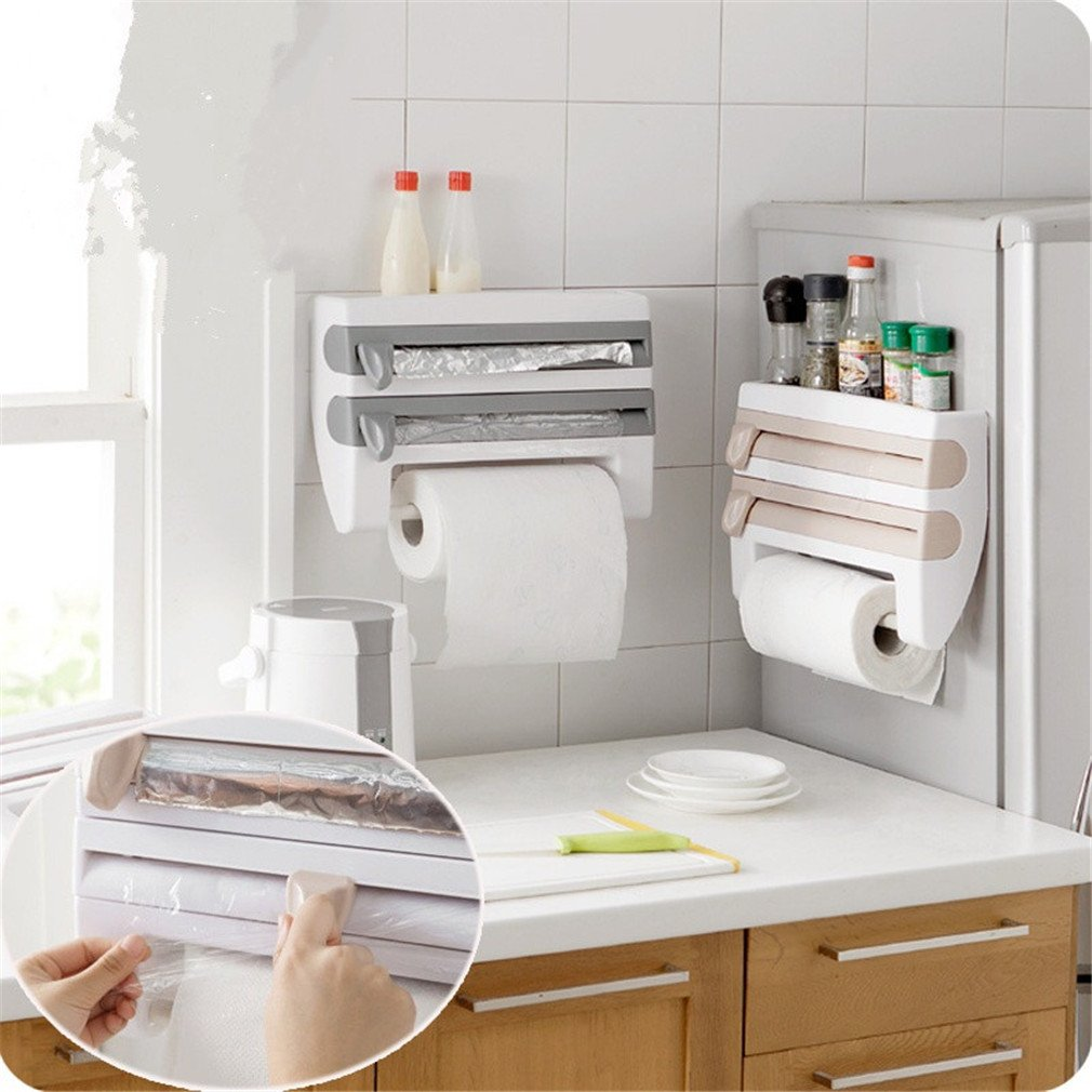 SOURBAN Kitchen Cling Film Sauce Bottle Storage Rack Paper Towel Holder Kitchen Tool Gray Blue