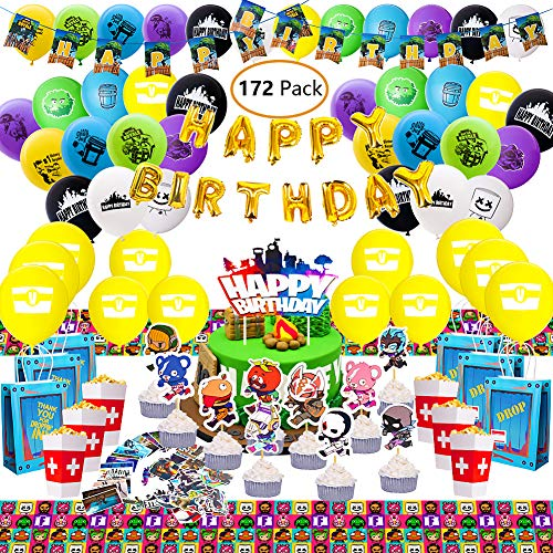 (Niteluo Birthday Party Supplies for Game Fans, 172 pcs Gaming Theme Party Decorations - Include Balloons, Party Favors Bags, Table Cover, Popcorn Box, Banner, Stickers, Cake Toppers)