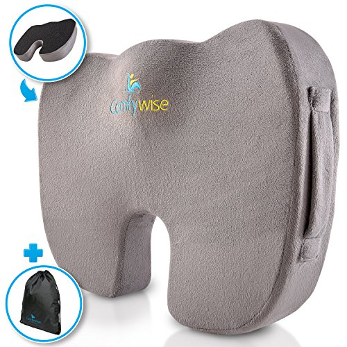 Comfywise Coccyx Orthopedic Memory Foam Seat Cushion - Back Support, Tailbone and Sciatica Pain Relief - Great for Office Chair, Car Seat or Travel & Wheelchair