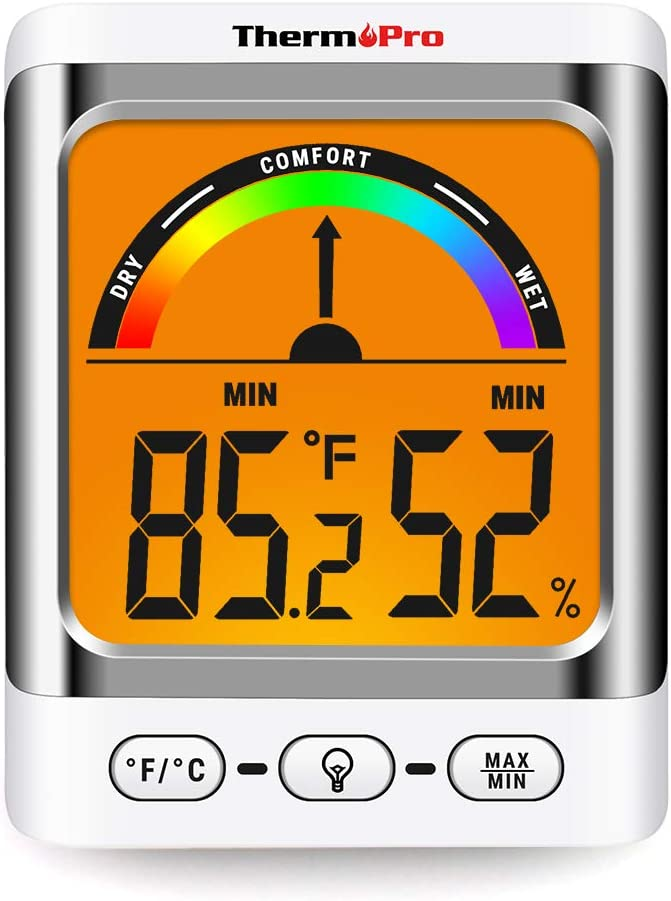 ThermoPro Digital Hygrometer Indoor Thermometer Temperature and Humidity Gauge Monitor Indicator Room Thermometer with Backlight LCD Display Humidity Meter