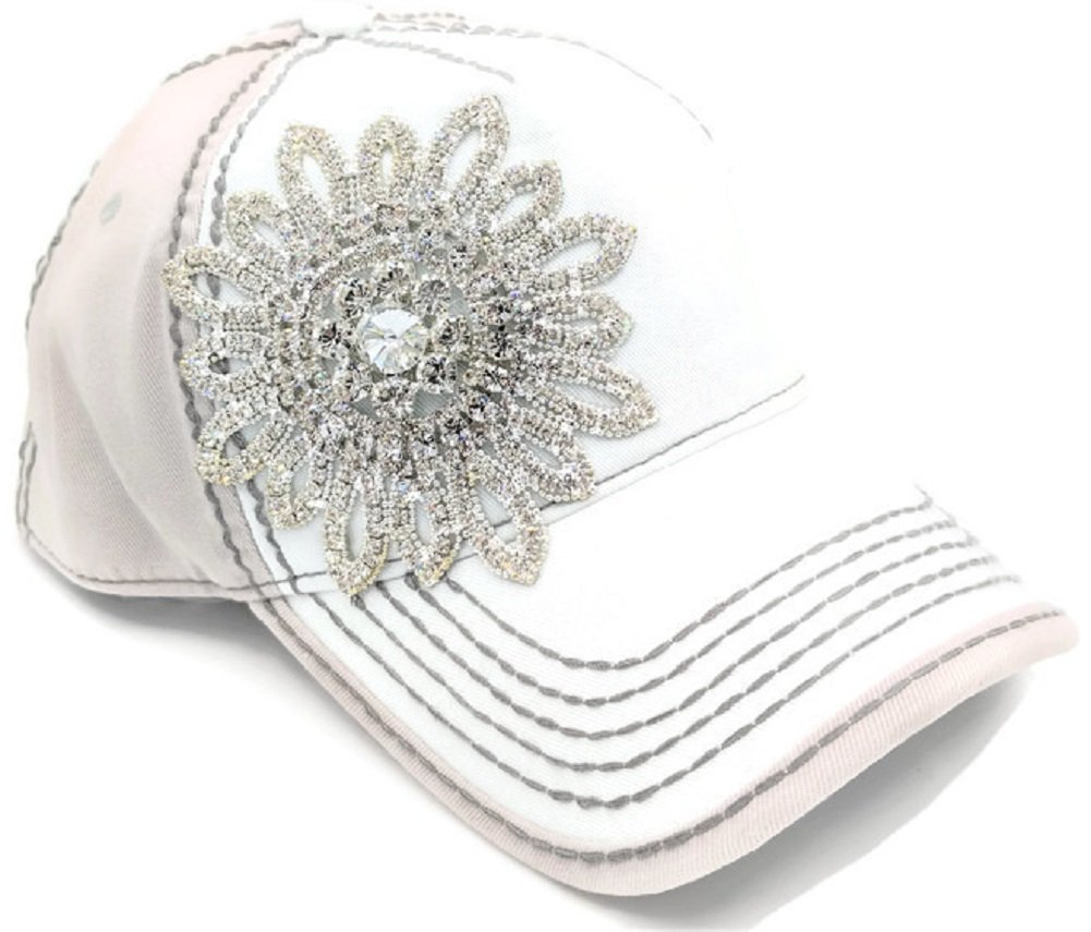 Olive & Pique Large Rhinestone Flower Bling Two-Tone Ball Cap (One Size, Ivory Beige)