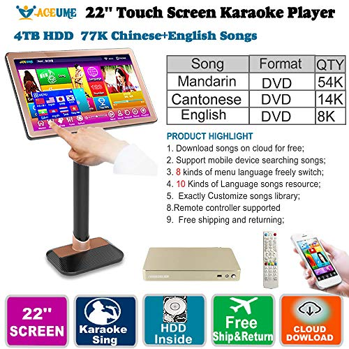 (4TB HDD 77K, Touch Screen Karaoke Machine Chinese songs (Mandarin,Cantonese),English Songs Player, 22''TSR Cloud Download, 觸摸屏,卡拉OK 播放器,云下國語+粵語+英語)