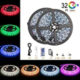 #9: Led Strip Light Waterproof 600leds 32.8ft 10m Waterproof Flexible Color Changing RGB SMD 5050 600leds LED Strip Light Kit with 44 Keys IR Remote Controller and 12V 5A Power Supply