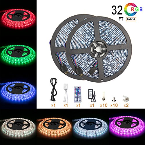 Led Strip Light Waterproof 600leds 32.8ft 10m Waterproof Flexible Color Changing RGB SMD 5050 600leds LED Strip Light Kit with 44 Keys IR Remote Controller and 12V 5A Power Supply by DAYBETTER