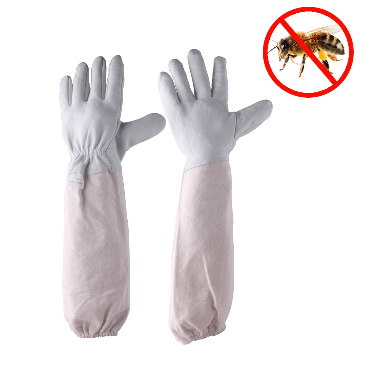 Goatskin Beekeeping Gloves with Large Vented Protection for Professional & Beginner Beekeepers