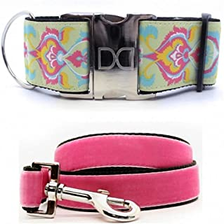 "product image for Diva-Dog 'Confection Perfection' Custom Medium Dog 2"" Extra Wide Collar with Plain or Engraved Buckle, Pink Velvet Leash Available"