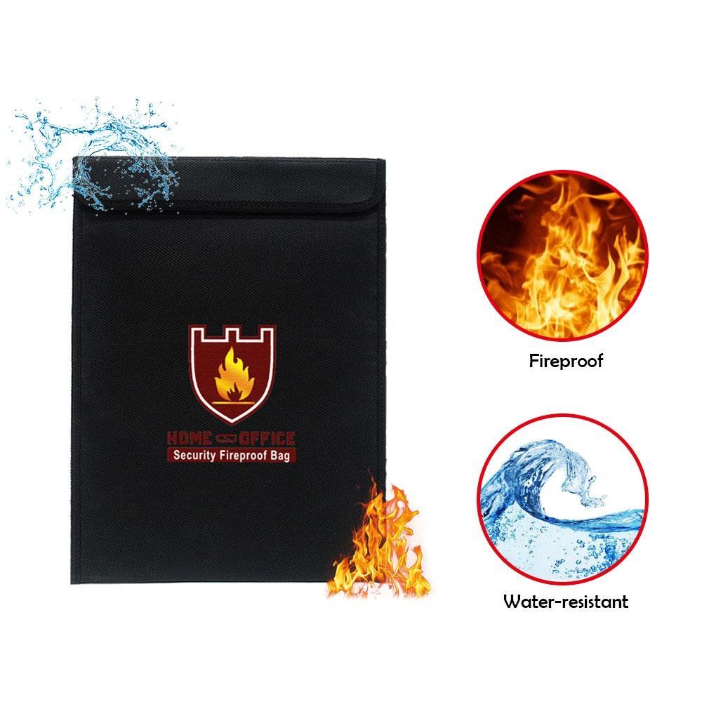 Fireproof Water Resistant Document Bag,Treeon Fireproof Waterproof Document Money File Document Bag ,Silicone Coated Fiberglass Fireproof Safe Storage for Document Cash Passport Bank Card Valuables