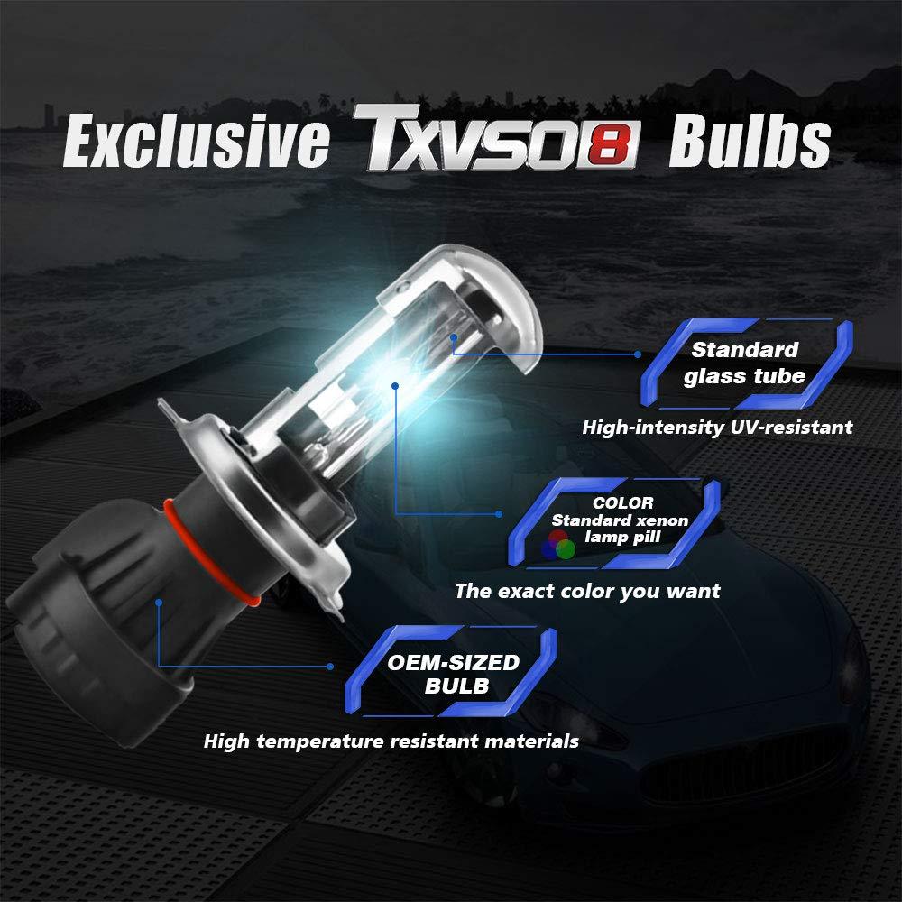 TXVSO Il pi/ù recente Mini 12V 55W Kit di conversione HID Xenon per faro per la sostituzione di lampade alogene di ricambio per auto 9003 Hi//Low 8000K Blu cristallo H4