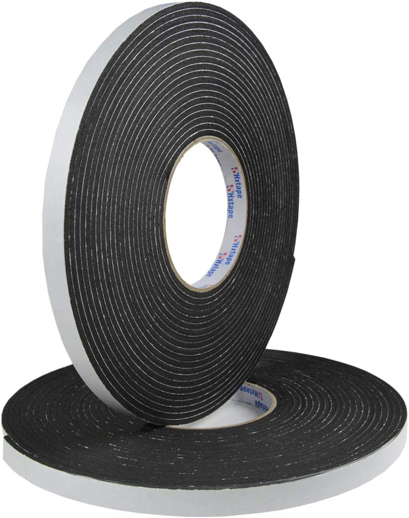 "Hxtape Multi Size Choices High Density Foam Tape,Single Side Adhesive,Soundproofing Waterproofing Insulation Foam Gasket Tape Weather Strip (1/8""Thick-1/2""-66ft)"