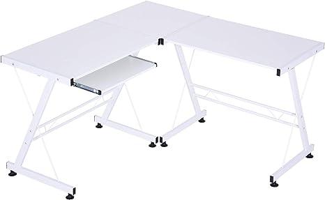 HOMCOM Mesa de Ordenador PC Escritorio para Oficina Hogar 2 Tipos ...