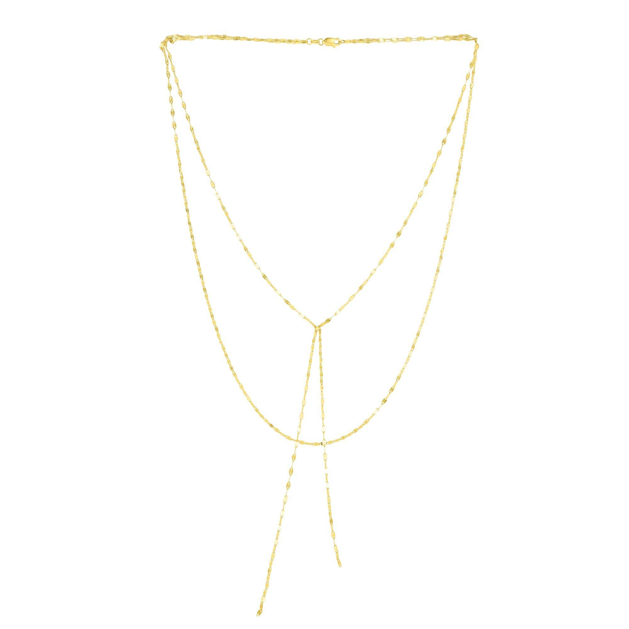 14k Yellow Gold Fancy Link Chain Double Layered Lariat Necklace, 17'' by Beauniq (Image #1)