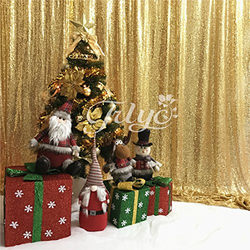 TRLYC 4Ft7Ft Sparkly Photo Booth Backdrop Gold Sequin Fabric Gold Wedding Curtain by TRLYC