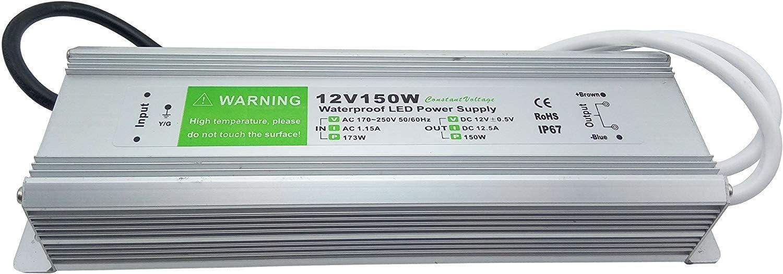 YXH® Transformador 150W LED Tira Módulo luces Conductor 12v Fuente de alimentación iluminación exterior impermeable Ac 170-265V iluminación transformador