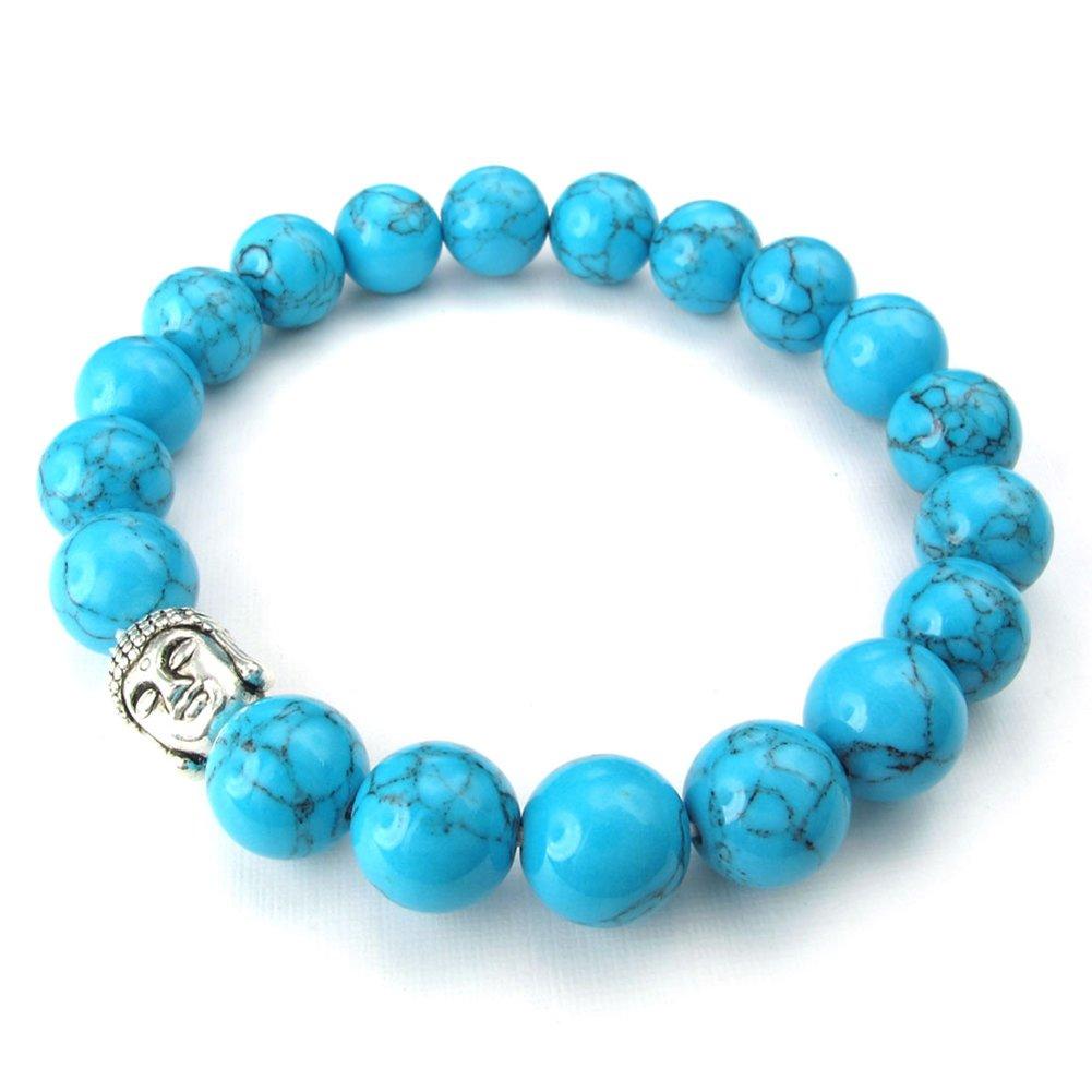 TEMEGO Jewelry Womens Mens Natural Energy Stone Classic Beads Stretch Bracelet, Link Wrist Buddha Mala Bracelet, Blue Silver,10-12mm