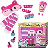 Kids Pedicure Set - Non Toxic Nail Polish Kit For Girls Ages 5,6,7,8 and 9 - Set Includes Peel-Off Nail Polish, 1 Pair of Fuzzy Socks, Hand or Foot Cream, Eye Mask, Glitter Toe Separators by Hot Focus