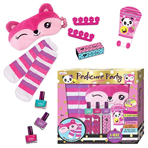 Hot Focus Pedicure Party, Value Set Nail Art Kit Includes Scented Non-Toxic Water Based Peel Off Nail Polish, Hand Cream, Socks, Eye Mark, Toe Separators and 1-4-Way Nail Buffer. Perfect for Manicure,