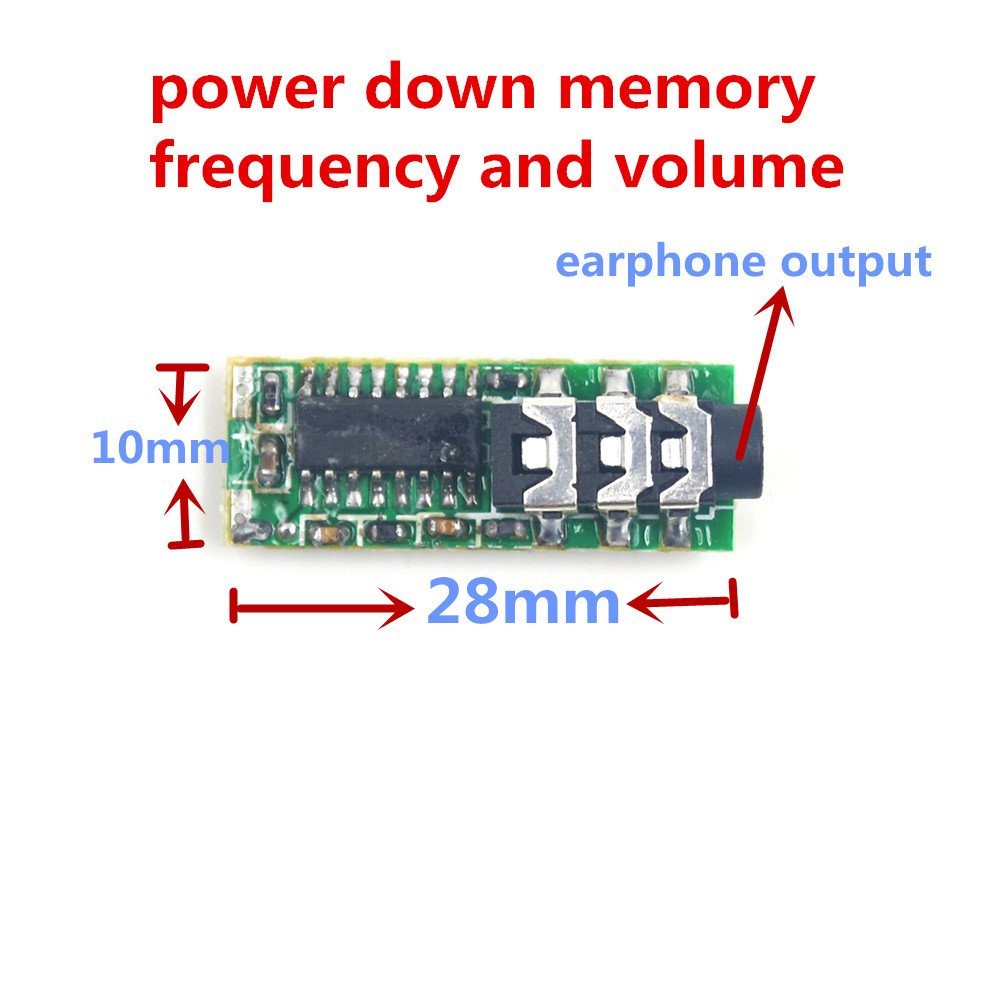 Puuli Mini 76-108MHz MEC007M 3V 25mA FM Stereo DSP Receiver Module Connecting Earphone with Power Down Memory Frequency Volume 2x10mW 10mmx28mm