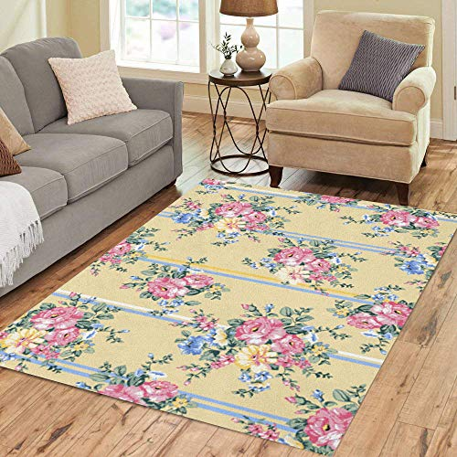 Pinbeam Area Rug Pattern Blooming Rose Floral Vintage Flower Lace Antique Home Decor Floor Rug 5' x 7' Carpet
