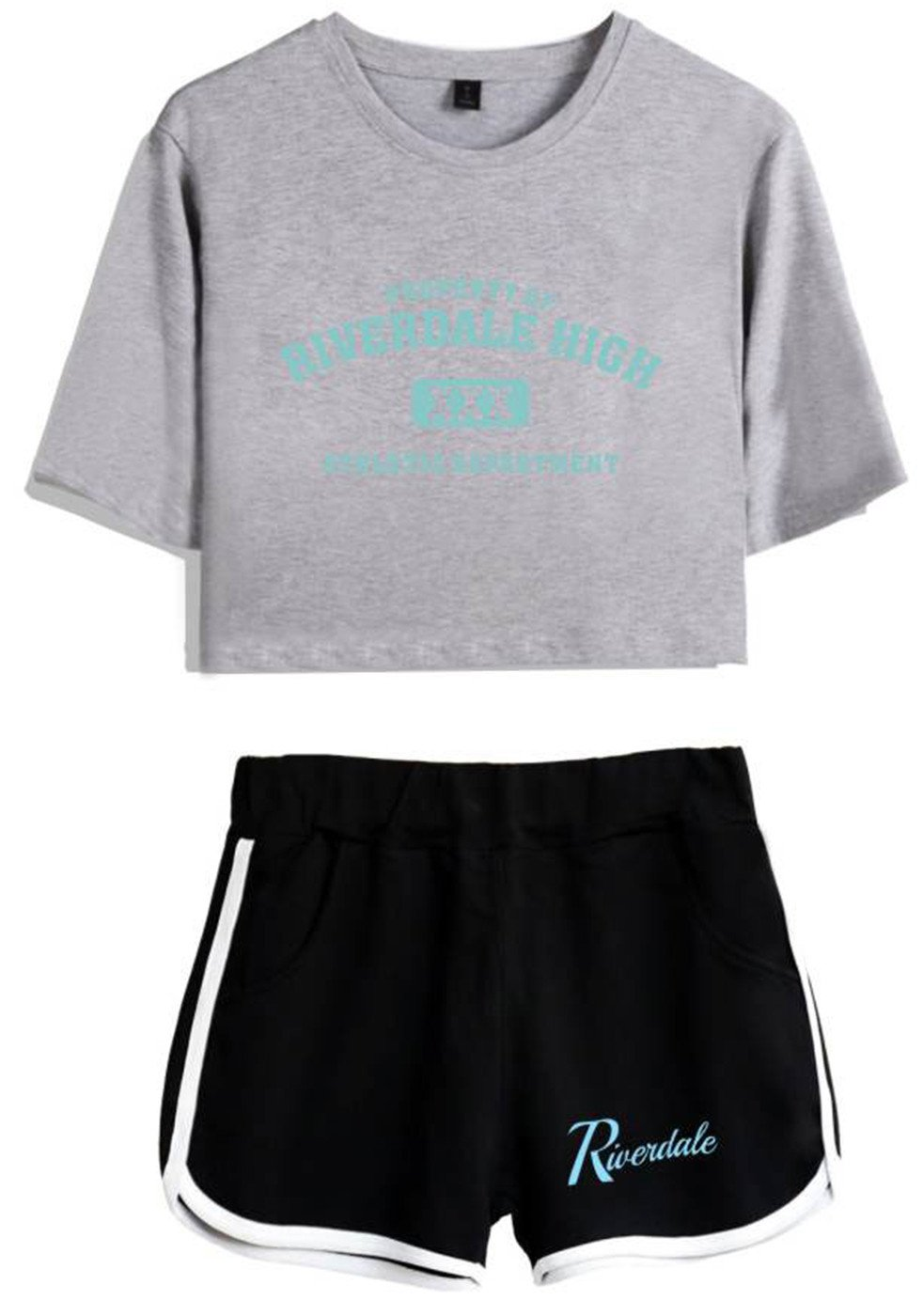 SERAPHY Riverdale Crop Top T-Shirts and Shorts Suit for Girls and Women 5757 Grey-Black L