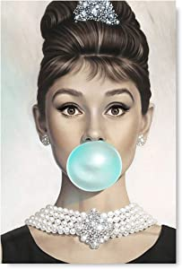 Funny Ugly Christmas Sweater Audrey Hepburn Blowing Bubble Gum Poster Old Movie Star Fashion Illustration for Office Decor 8
