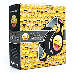 Smiley Print Over the Ear Foldable Headphone (BLACK)