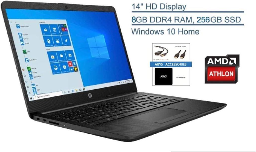 "HP 14"" HD WLED Backlit High Performance Business Laptop, AMD Athlon Silver 3050U up to 3.2GHz, 8GB DDR4, 256GB PCIE SSD, Wireless-AC, HDMI, Bluetooth, Webcam, SD Card Reader, Windows 10, ABYS Bundle"