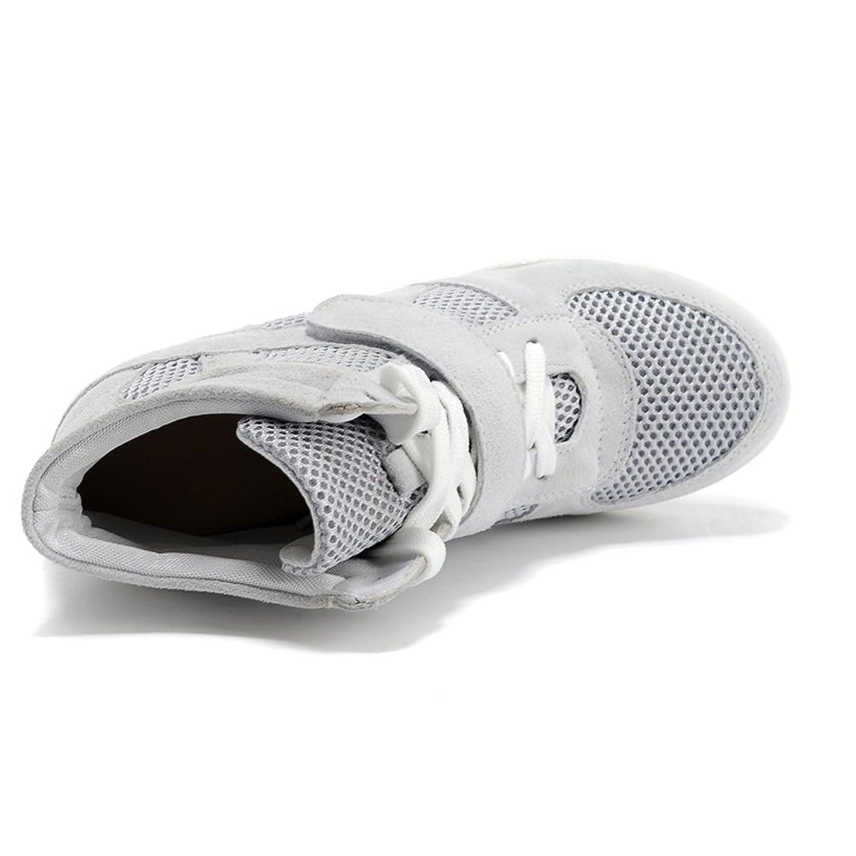 Rismart Mujer Zapatos Formal Oculto Tacón Cu?a Gamuza Tela Zapatillas (Negro,EU35)