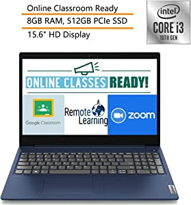 "2020 Lenovo Ideapad 3 Laptop Computer 15.6"" HD 10th Gen Intel Core i3 1005G1 Up to 3.4GHz (Beats i5-7200u) 8GB DDR4 RAM, 512GB PCIe SSD Windows 10 iPuzzle Mouse Pad, Webcam, Online Class Ready"