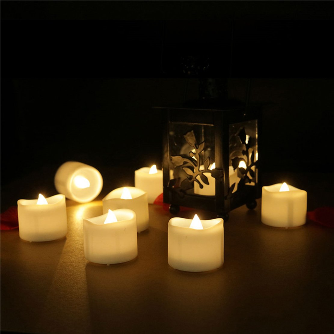 200 Hours Led Mini Tea Light with Timer (6 Hrs On 18 Hrs Off) Flameless Warm White Flickering Fake Votive Candle Wavy Open Rustic Long Lasting Electric Timed Tealights Party Home Wedding Decor 96 PCS by Beauty Collector (Image #7)