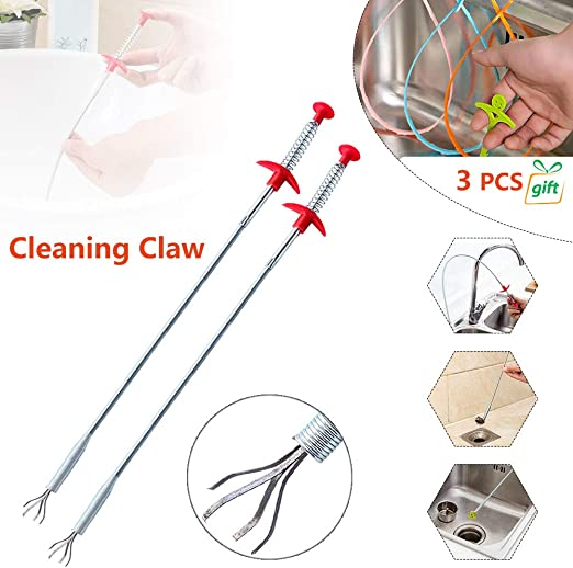 0.9m Multifunctional Cleaning Claw,Spring Pipe Dredging Tool,Drain Snake Bendable Hair Drain Clog Remover Cleaning Tool for Kitchen Sink Toilet Bathtub