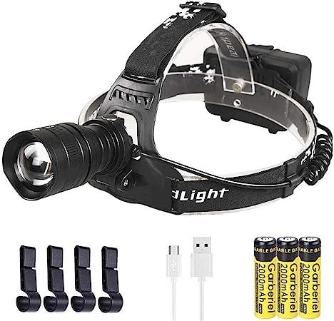 WholeFire Linterna Frontal LED XHP50 8000 Lúmenes con Zoom, Alta Potencia USB Recargables, Impermeable Linterna Cabeza con 4 Modos para Correr, Caza, ...