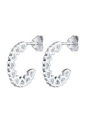 Elli Women's 925 Sterling Silver Creole Heart Love Hoop Earrings 8n0CHdfX
