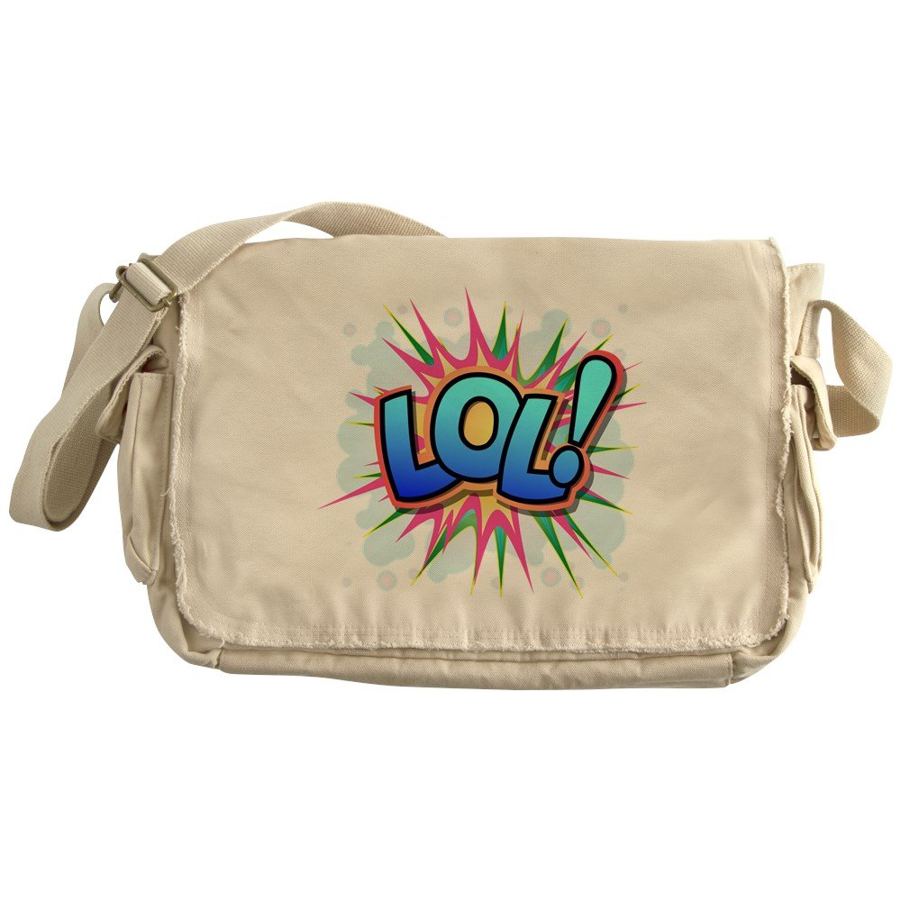 Truly Teague Khaki Messenger Bag Text Abbreviation LOL!
