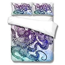 3D Bedding Set Elegant Octopus and Octopus feet Bed Linen Duvet Cover Set Comforter Covers (twin, octopus)