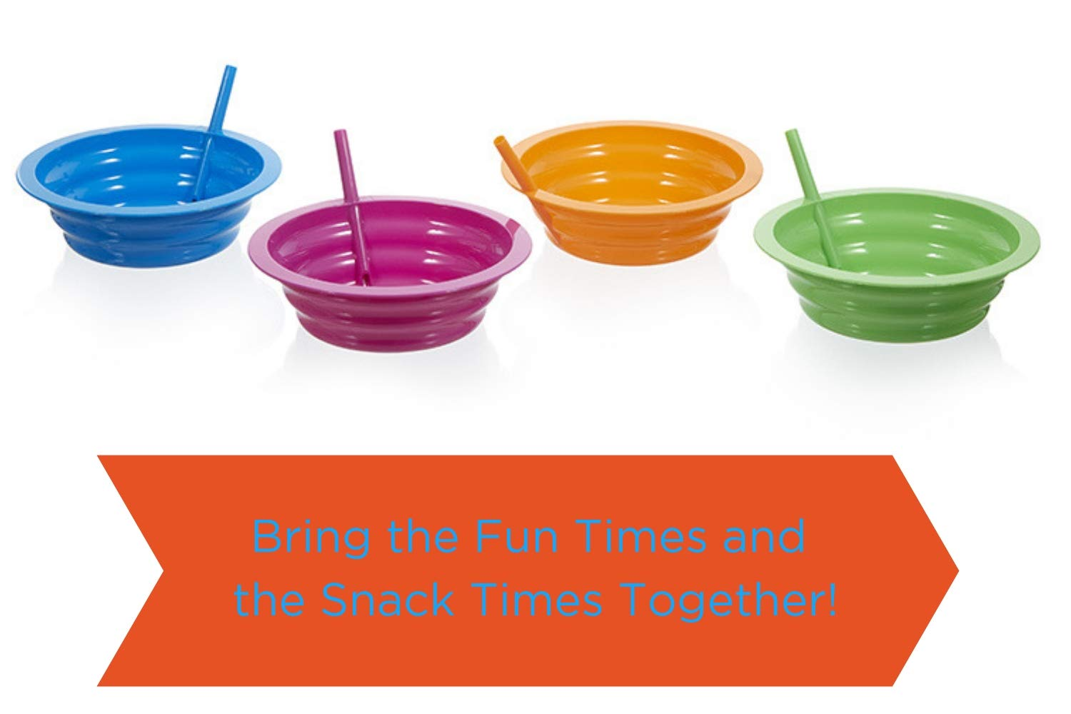 Arrow Sip-A-Bowl With Built In Straw, 22 oz, Blue, Purple,Green, Orange (4 Pack) by Arrow Home Products (Image #4)