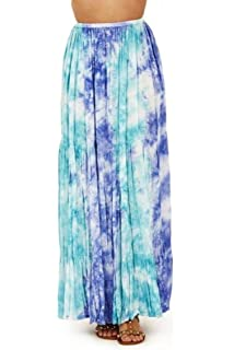 ed0987989ea114 Un-Poco Blue Mint & White Elasticated Waist Summer Beach Holiday Full  Length Maxi Skirt