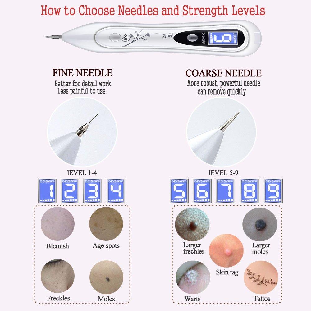 Manchas Cara Eliminación, OKEEY Spot Eraser Pro Intensidad de 9 Niveles Pluma de Pecas Mole Remover Pen para Eliminar Manchas, Lunares, Pecas, Tatuajes, ...