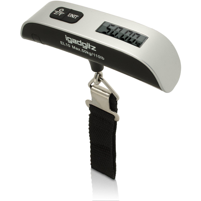 iGadgitz Xtra Portable Digital LCD Handheld Luggage Baggage Scales 50kg 50g (110lbs/0.1lb) + Temp Display U3185
