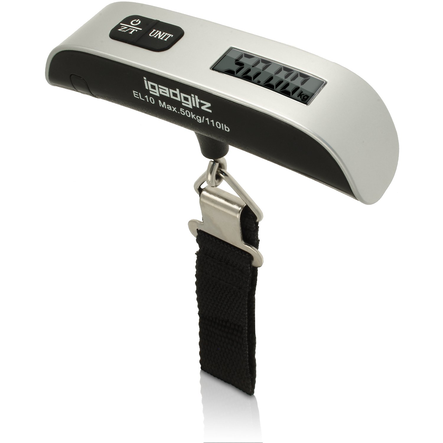 iGadgitz Xtra Portable Digital LCD Handheld Luggage Baggage Scales 50kg 50g (110lbs/0.1lb) + Temp Display product image