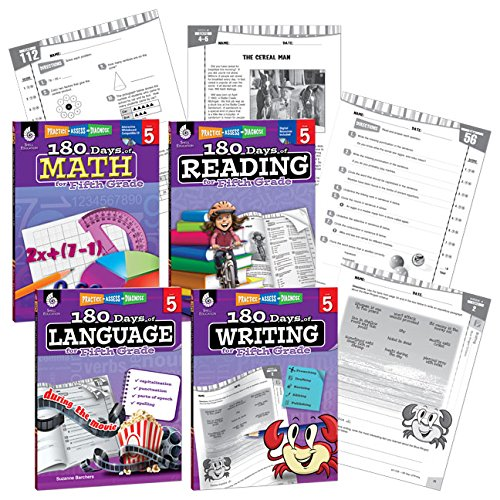 180 Days of Practice - 5th Grade Workbook Set - Includes 4 Assorted Fifth Grade Workbooks for Daily Practice in Reading, Math, Writing, and Grammar Skills