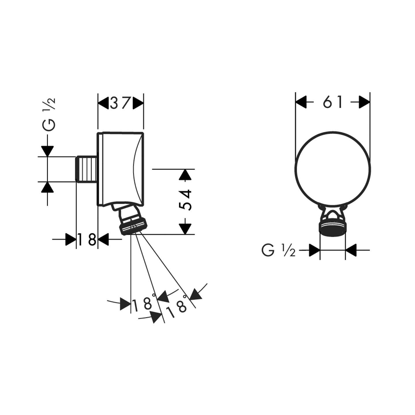 Hansgrohe Fixfit Coude S avec clapet anti-retour Chrom/é 26453000/Tuyau terminal DN15