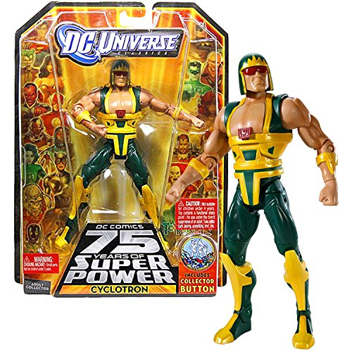 "Mattel Year 2009 DC Universe ""DC Comics 75 Years of Super Power"" Wave 13 Classics Series 6 Inch Tall Action Figure #3 - CYCLOTRON the Android with Trigon's Display Base Bonus Collector Pin (R5791)"