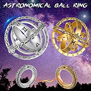 Armillary Sphere Ring Unfold to Change into Cosmic Ball GEMITTO Astronomical Finger Ring Gemmas Retro Vintage Globe Universe Ball Ring Creative Gift for Couple Lovers