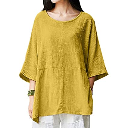 Amazon.com : HOSOME Women Top Womens Casual Loose Short Sleeve Round Collar Cotton Linen Tops Shirts Blouse : Grocery & Gourmet Food