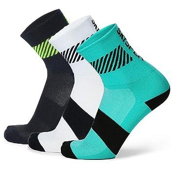 SKYSPER 3 Pares Calcetines de Deporte Deportivos para Hombre Mujer Unisex Bacteriostáticos Casual Zapatilla Antideslizantes Transpirables Medias para ...