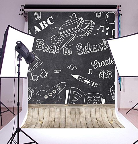 Laeacco Customizable 5x6.5ft Vinyl Photography Backdrop Back to School Blackboard with Chalk Letters Wood Floor Theme Scene Students Photo Backdrops 1.5x2m Photo Background Studio Props