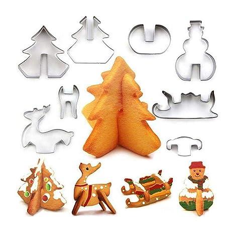 Pawaca Moldes de galletas de Navidad con diseño de Navidad,8 moldes cortadores de galletas