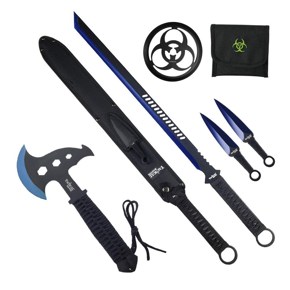 Tactical Survival Tomahawk Throwing Axe and Throwing Knife with Sheath Set. Camping Hunting Fishing Survival Axe Hawk Hatchet (Blue) by Tactical Master (Image #7)