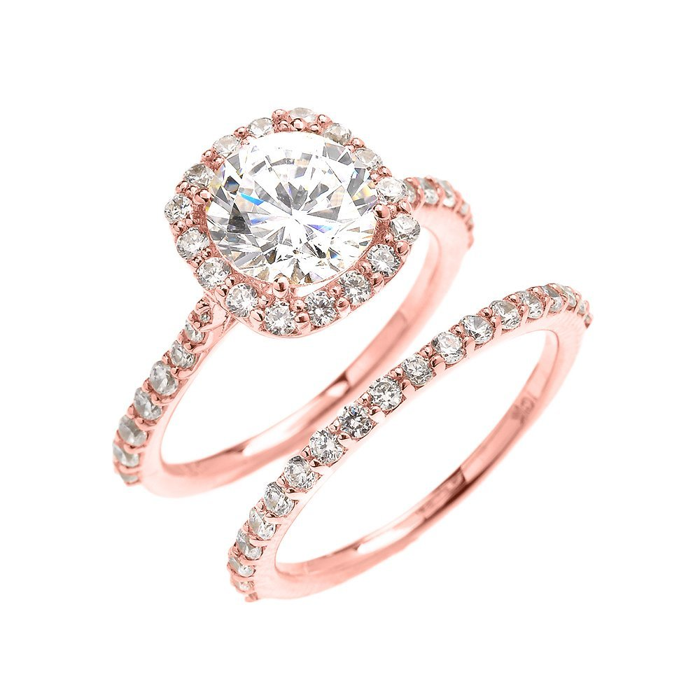 10k Rose Gold 3 Carat CZ Solitaire Halo Proposal Engagement and Wedding Ring Set(Size 7)