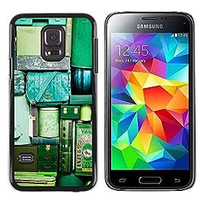 Paccase / SLIM PC / Aliminium Casa Carcasa Funda Case Cover para - Travel Bags Luggage Green Teal Vignette - Samsung Galaxy S5 Mini, SM-G800, NOT S5 REGULAR!
